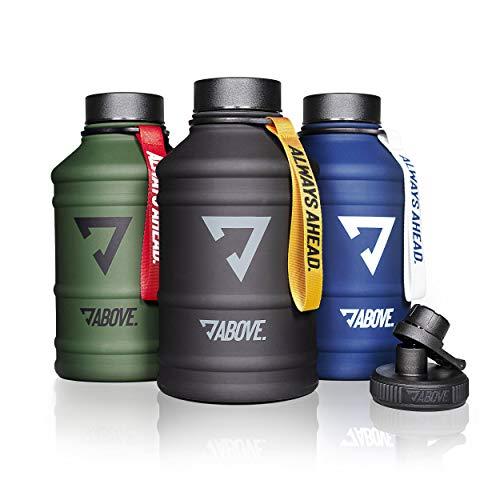 ABOVE. Trinkflasche 2L Edelstahl I 2 Trinkverschlüsse I BPA Frei I Kohlensäure Geeignet I Water Jug 2 Liter (Schwarz)