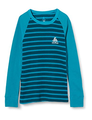 Odlo Camiseta Interior Unisex Infantil Bl Top Crew Neck L/S Active Warm Kids, Unisex niños, Camiseta, 10459, Tumultuous Sea - Submerged - Rayas, 152