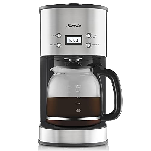 Sunbeam PC7900 Auto Brew Drip Filter Coffee Machine | 12 Cup Programmable Coffee Maker | 1.5L Jug | Delay Timer | Keep Warm Plate | Stainless Steel/Black