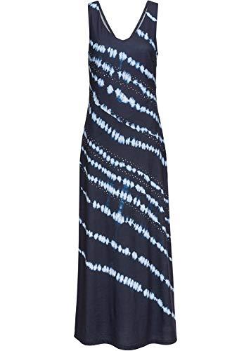 bonprix Tief ausgeschnittenes Maxikleid mit Batik-Druck und Schmucksteinverzierung dunkelblau/wollweiß Bedruckt 36/38 für Damen