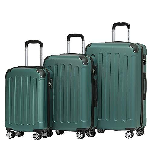 BEIBYE Hartschalen-Koffer Trolley Rollkoffer Reisekoffer Handgepäck 4 Rollen (M-L-XL-Set) (Dunkel grün, Set)