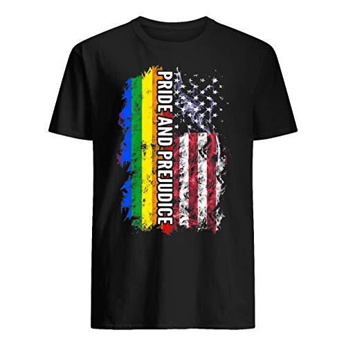 Vinsaco LGBT Independence Day - Camiseta de manga corta, diseño del orgullo y prejuicio Negro Negro ( XL