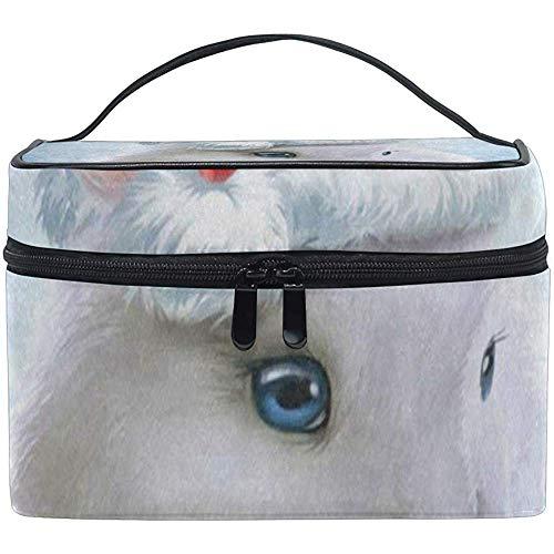 Bolso Cosmético Conejo Lindo Sombrero Rojo Pascua Mujer Maquillaje Organizador Niñas Caja De Artículos De Aseo Caja Lazy Zip Bag