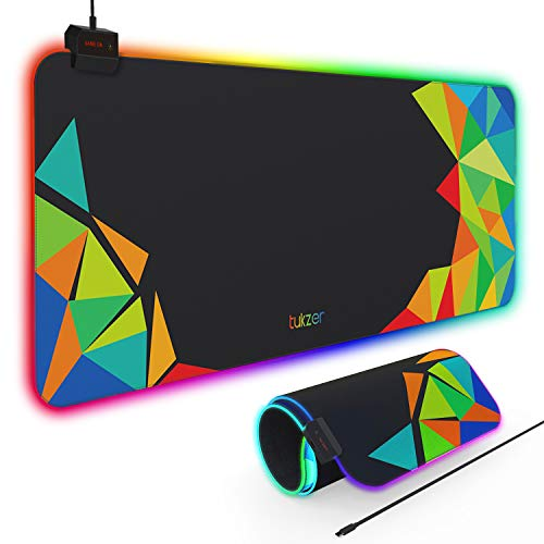 Tukzer RGB Gaming Mouse Pad, Large Extended Soft Led Mouse Pad with 13 Lighting Modes  for Computer Laptop Mousepads Mat  (800mm x 300mm x 4mm, Abstract) (TZ-GD11-2)
