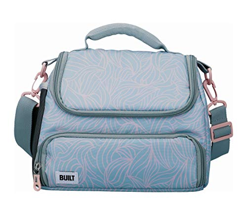 BUILT Insulated Lunch Bag with 'The Mindful' Design, Polyester, Grey/Pale...