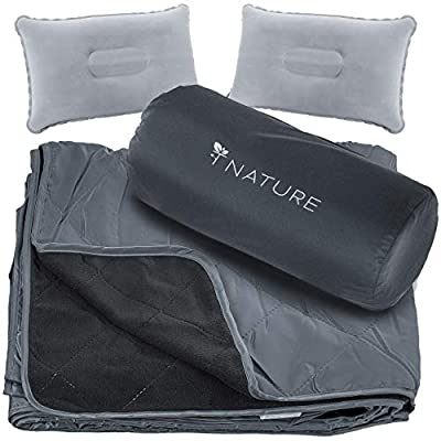 T Nature Waterproof Blanket Perfect for Camping Picnic Stadium Beach Hiking Travel Field Beach Boats Festival. Made Water Resistance for Indoor and Outdoor with Extra Warm Fleece Extra Large