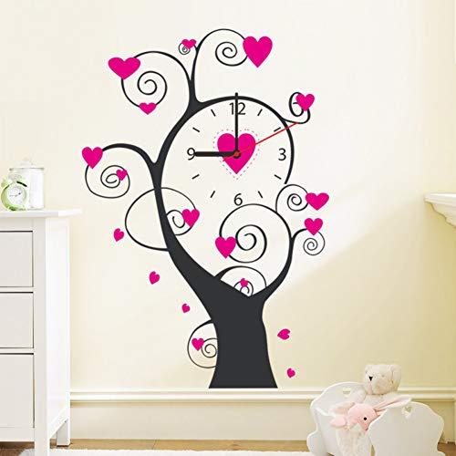 GUDOJK Muurtattoo Liefde Rose wandklok boom knutselen woonkamer decoratieve wandklok moderne muursticker
