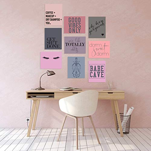 Nine Dorm Room Wall Prints - Set of 9 Posters (8x10 Inches Unframed Prints) on Textured Linen Paper | Neutral Blush Gray Rose Fig | Dorm Sweet Dorm Babe Cave Good Vibes Only | Designed Printed in USA