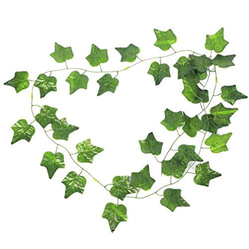 NUOBESTY 12 Pcs Artificielle Feuille De Lierre Plantes Vigne Suspendus Guirlande Faux Feuillage Fleurs pour La Maison Cuisine Jardin Bureau De Mariage Décoration Murale (Boston Ivy Leaf)