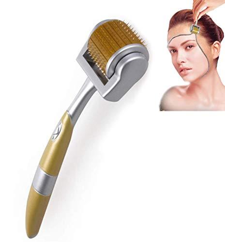 Rouleau Derma 192 Titane Croissance de la Barbe et Repousse des Cheveux Micro Aiguilles Derma Roller Anti-âge Soin de la Peau Outil de Beauté Derma Kit d'aiguilletage,Gold,0.25mm