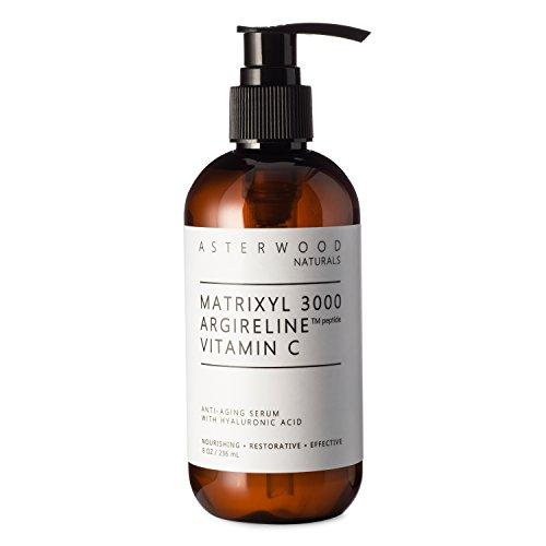 MATRIXYL 3000 + ARGIRELINE Peptide + Vitamin C 8 oz Serum + Organic Hyaluronic Acid, Reduce Sun Spots and Wrinkles, Our Most Powerful Triple Combination ASTERWOOD NATURALS Pump Bottle