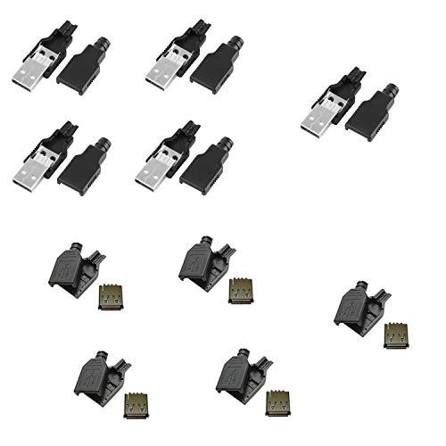 x10 Conector USB Macho y Hembra (5 Machos y 5 Hembras) 2.0 Tipo A 4 Pin para Cable con Carcasa Plástico Aéreo
