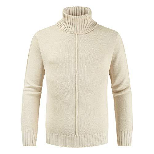 Suéteres para Hombre Otoño e Invierno Nuevo Simple Color Puro Cuello Alto Suéter de Punto Delgado Tops Casual Suéteres Salvajes de Manga Larga L