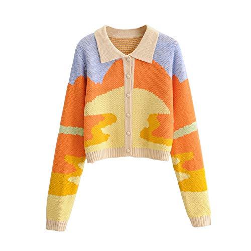 Women Y2K Button Down Casual Knit Sweaters Long Sleeve Lapel Knit Crooped Cardigan Graffiti Letters Slim Sweater Coat (Orange, S)