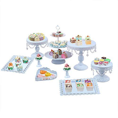 Kaibrite 9tlg Vintage Tortenständer Rund Metall Dessert Display mit Kristallperlen, 3 stöckig Tortenplatte Hochzeitstorte Deko Gestell Muffinständer