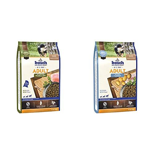 Bosch HPC Adult mit frischem Geflügel & Hirse | Hundetrockenfutter für ausgewachsene Hunde, 1 x 3 kg & HPC Adult mit Fisch & Kartoffel | Hundetrockenfutter für ausgewachsene Hunde, 1 x 3 kg