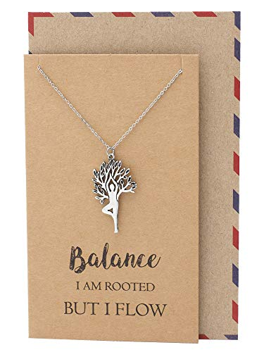 Quan Jewelry Yoga Vriksasana Asana Tree Pose Meditation Pendant Necklace, Yoga Accessories, Birthday Greeting Card, Inspirational Quote Card