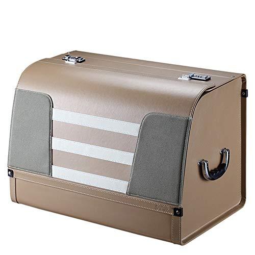 KDOAE Aufbewahrungstasche Auto-Kofferraum Trimmer Abschließbare PU-Leder-bewegliche Multifunktions-Speicherabteil Faltbare für Lagerung (Color : Beige, Size : 60X38X42CM)