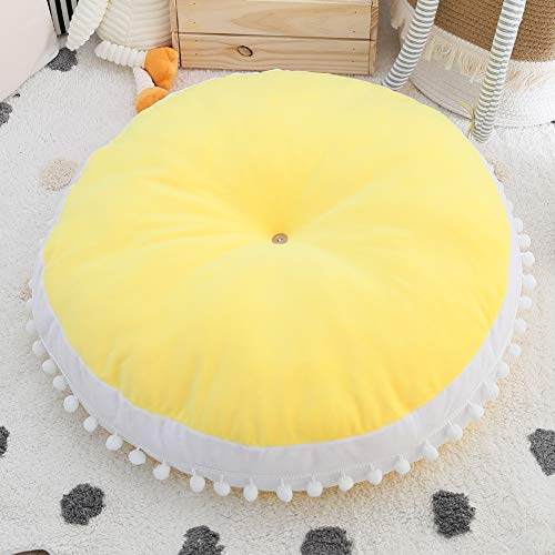 Kids Floor Pillow Cushion Seating Round Large Floor Cushion, Oversized Circle Pillow for Reading Nook Canopy Nursery Playroom Teepee Meditation, Soft Big Circular Cushion with Cute Pompom, Yellow 35'