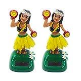PRETYZOOOM 2 pezzi a energia solare per bambine hula hawaiane Hula scuotere bambola danza giocattolo auto cruscotto statuetta decorazione auto