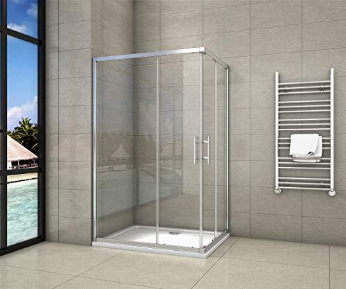 Cabine de douche 80x120x195cm en 6mm verre anticalcaire porte de douche coulissante l'ccès d'angle