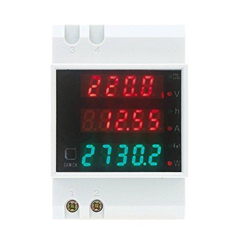 TOOGOO AC80-300V 100A multifuncionales DIN digitales Rail Voltaje Blanco Voltimetro Medidor del Factor de Potencia