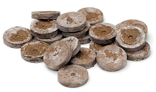 GREEN24 10 St. Jiffy Original Quell-Tabletten Torf-Quelltöpfe Aussaaterde Anzuchterde 44mm Torftablette mit Anleitung