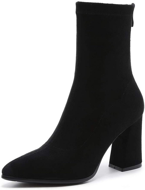 AdeeSu Womens Bucket-Style High-Heels Casual Urethane Boots SXE04293