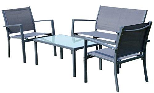 Sitzgruppe Gartengarnitur Gartenset Gartenlounge CASAYA Lounge besteht aus einem Tisch, Zwei Stühlen und Einer Sitzbank von AS-S, Farbe:Anthrazit