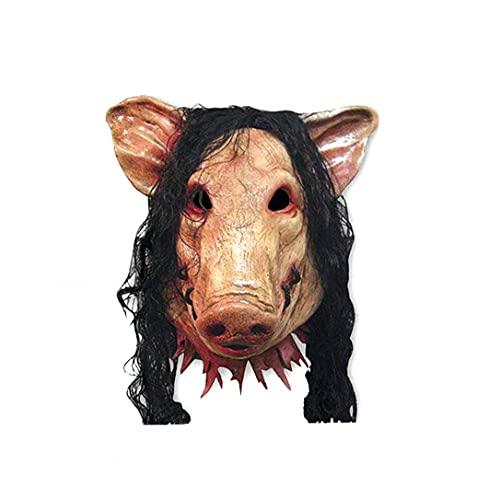 RRunzfon De Halloween Cara de la Cubierta Cerdo Cabeza en Forma de la Cara Cubierta con Pelo de Animal Horrible Cosplay Traje de Mascarada de látex Cara Cubierta, baño y Mesa de la Cocina decoración