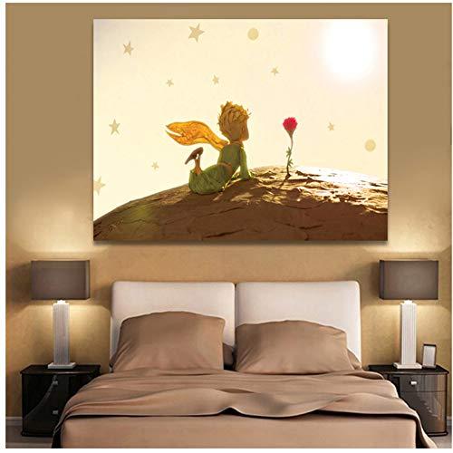 El Principito Carteles Impresiones de la lona Arte de la pared Pinturas Niños Habitación Anime Decoración para el hogar Imágenes-60x80cm Sin marco
