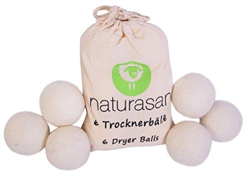 Naturasan Bolas de secado para secadora 6 bolas de lana XXL extra grandes, suavizante natural, ideal para chaquetas de plumas.