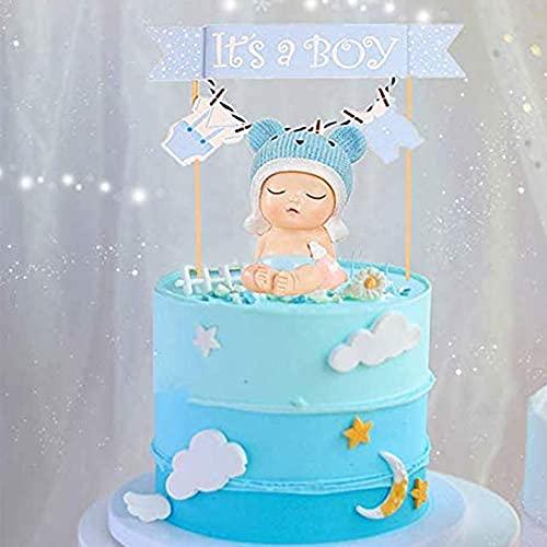 JeVenis 2 piezas de decoración para tartas de bebé, color azul