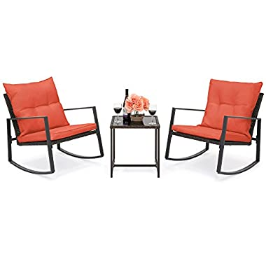 Best Choice Products 3-Piece Patio Wicker Bistro Furniture Set w/2 Rocking Chairs, Glass Side Table, Cushions - Red