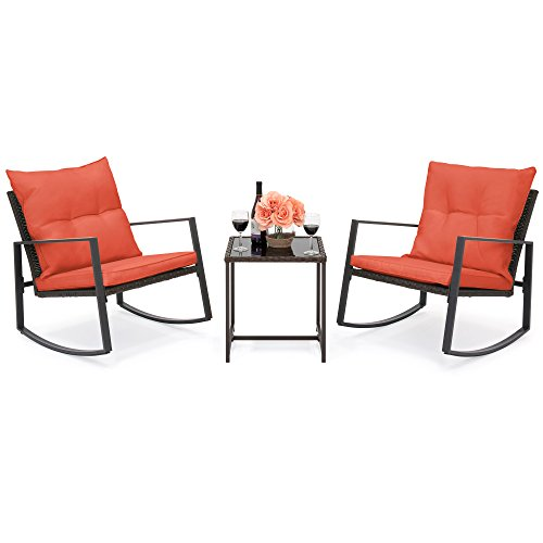 Best Choice Products 3-Piece Wicker Patio Bistro Furniture Set w/ 2 Rocking Chairs and Glass Side Table, Red