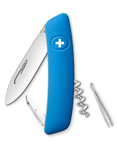 Swiza D01 Couteau suisse, verrouillage de la lame, poignée anti-dérapante - Bleu