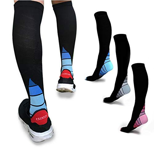 3 Pairs Graduated Compression Socks 20-30mmHg for Men & Women BEST Stocking for Running, Medical, Athletic, Flight, Travel, Pregnancy, Nursing, Shin Splints & Speed-up Muscle Recovery