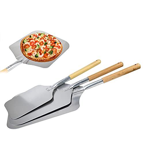 Dibiao 12 * 14 Pulgadas Cáscara de Pizza con Mango Largo de Madera Pala de Metal para Pizza Pala de Aluminio Hornear Cocina Horno de Pan de Pizza Casero Herramientas para