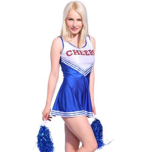 Anladia Mädchen Cheerleader Kostüm Dame Halloween Kostüm Kleid Cheerleading Bekleidung mit 2 Pompoms Blau