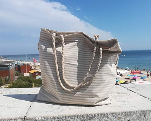 TRAPOS da PIPA, bolsa de playa grande con bolsillo interior, rayas beige, tamaño: 40x50 cm, interior y base con forro impermeable, bolsa de hombro, bolsa de playa para vacaciones familiares