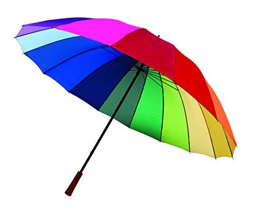 Regenschirm Regenbogen Partnerschirm Stockschirm Golfschirm Schirm bunt XL 131cm