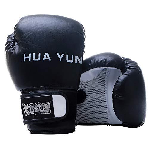 BOZHUO Boxhandschuhe Für Das Training Muay Thai Maya Lederhandschuhe Zum Kämpfen, Kickboxen, Atmungsaktive Boxhandschuhe Für Erwachsene Aus PU-Material,Schwarz