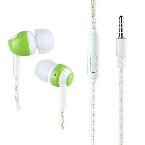 Auricolari Huhuswwbin Cuffie In-Ear Stereo Universale In Ear 3.5mm Stereo Luminous Headphone Super Bass Auricolare con microfono - Verde