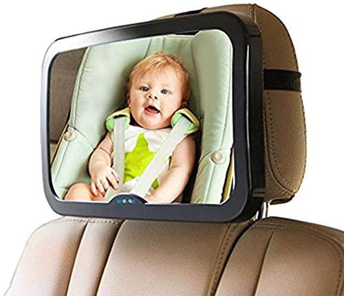 xqkj Espejo retrovisor para asiento trasero de coche, a prueba de golpes, espejo retrovisor para bebés, espejo retrovisor para asiento infantil y portabebés, giratorio 360°