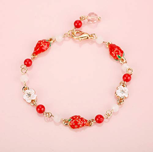 siqiwl Bracelet Fashion Jewelry Strawberry Fruit Charms Bracelets Bangle Simple Sweet Bracelet Gift For Girl Women 1style