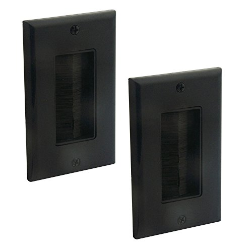 YinXiong 2 Pack Black Color Single Gong Brush Wall Plate - One Gang Face Plate With Brush Bristles (2, Black)