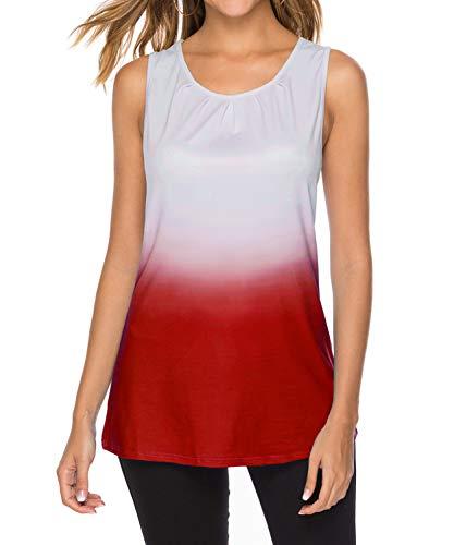 DEMO SHOW tanktop dames zomer mouwloos ronde hals plissé vrije tijd tuniek met kleurverloop blouse shirts