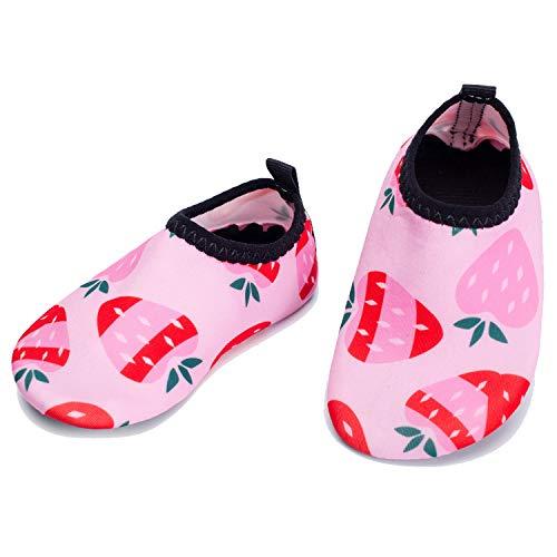 L-RUNJP Kinder Schwimmen Soack Kleinkind wasserdichte Wasser Schuhe Atmungsaktiv Erdbeere 18-24 Monat = EU21-22