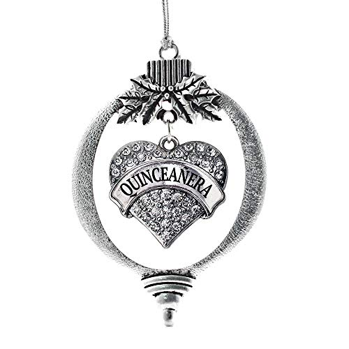 Inspired Silver Quinceanera Pave Heart Holiday Christmas Tree Ornament With Crystal Rhinestones