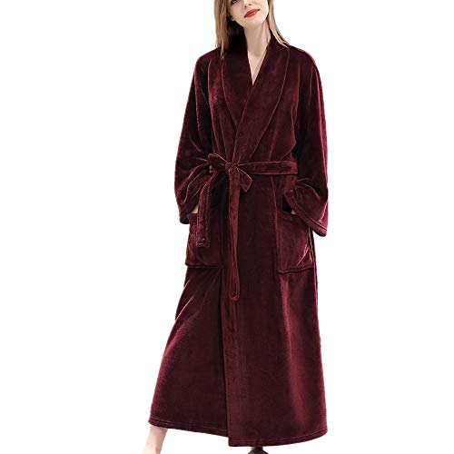 DUJUN Albornoz a Cuadros de Franela Estampada para Mujer, Microfibra (100% poliéster), camisón extendido - 2 Bolsillos, Vestido con cinturón y Hebilla -RojoSuave y cómodoL